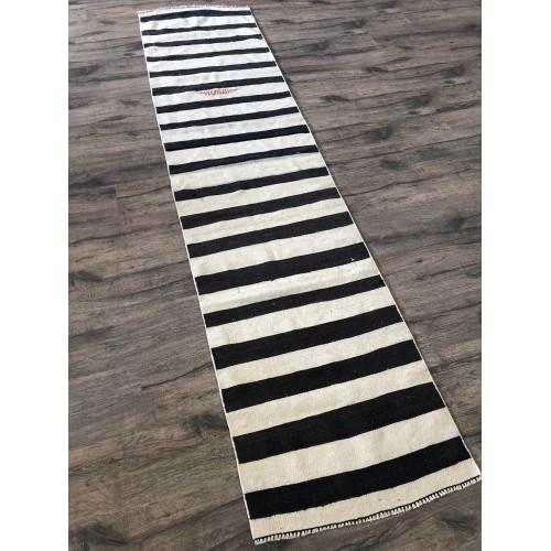 """25""""X9' Stunning Natural Black White Handmade Turkish Kilim Rug Runner"""