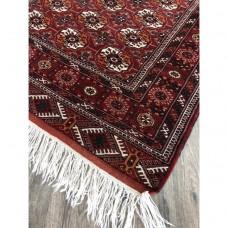 """4' 5"""" x 6' 7"""" Uzbek Bukhara Rug Handmade Vintage Carpet"""