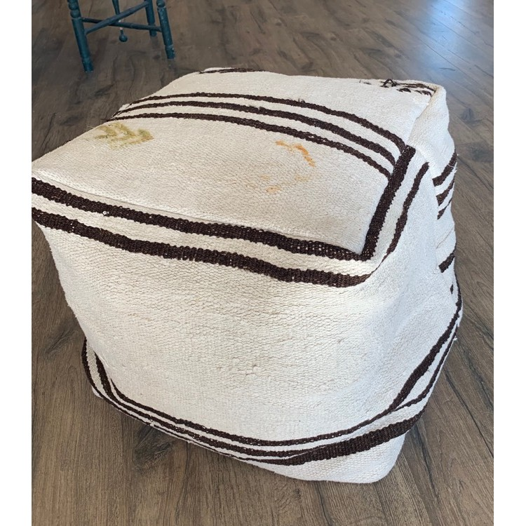 Enjoyable Natural Handmade Hemp Kilim Pouf Decor Floor Throw Ottoman 18 Inch Creativecarmelina Interior Chair Design Creativecarmelinacom