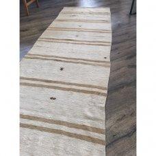 """Pastel Neutral Golden Stripes Handmade Kilim Rug Runner 28"""" x 12'8"""""""