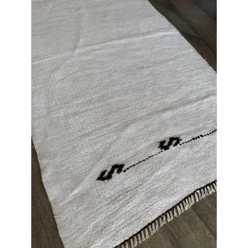 2' by 3' White Hemp Rug Kilim Vintage Turkish Handmade