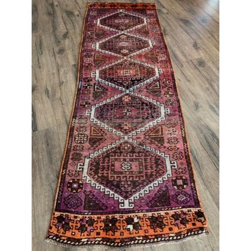 8 feet Rug Runner Hallway Handmade Vintage Turkish