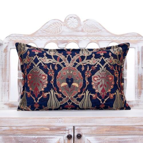 """Decorative Navy Blue Throw Pillow 16x24"""" Tulip Garden Lumbar Cushion"""