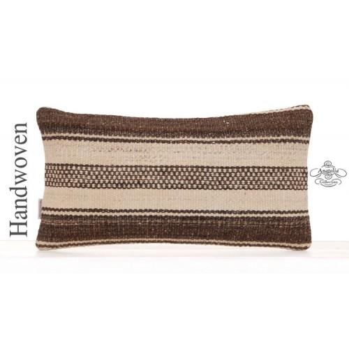 White Cottage Chic Throw Pillow 10x20 Decorative Turkish Kilim Cushion