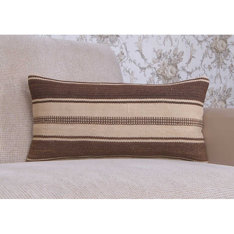 Ethnic Lumbar Kilim Pillowcase 10x20 Quot Striped Turkish