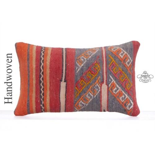 "Embroidered Vintage Kilim Pillow 12x20"" Anatolian Rug Cushion Cover"