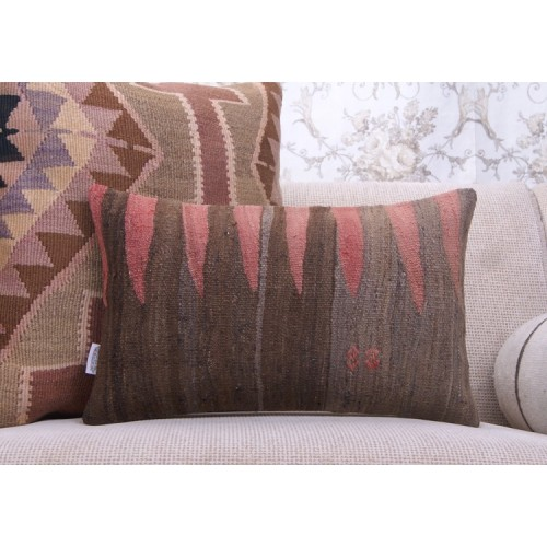 "Ethnic Lumbar Kilim Pillow Turkish Handmade 12x20"" Vintage Rug Cushion"
