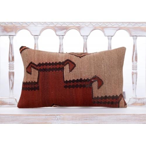 "Tribal Asian Handmade Kilim Pillow 12x20"" Lumbar Ethnic Cushion Cover"