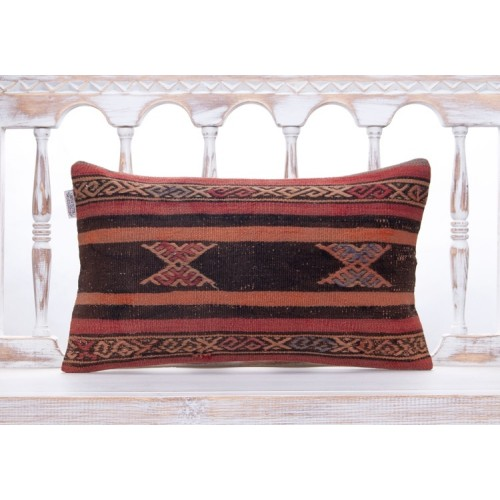 Vintage Anatolian Handmade Rug Pillow Ethnic Decorative Kilim Cushion