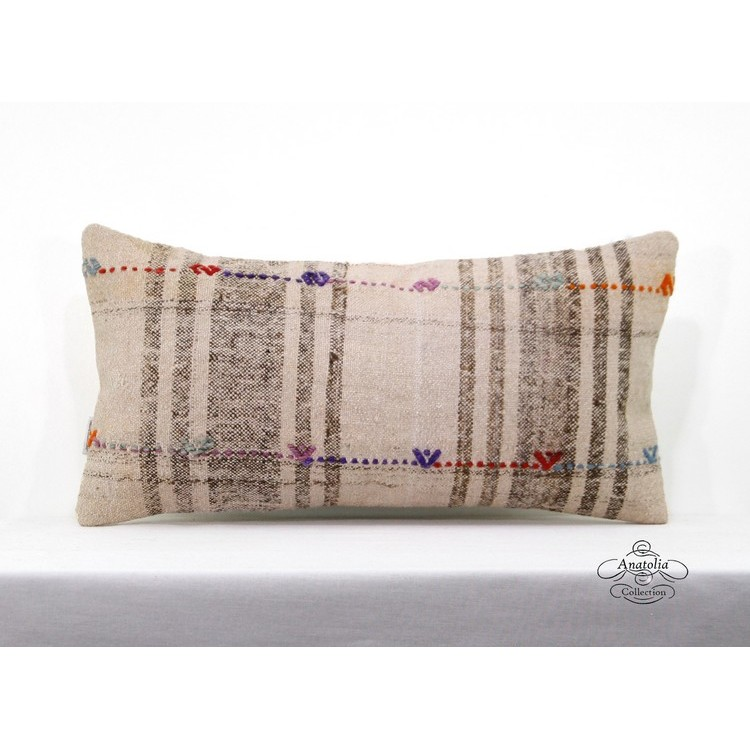 Vintage Cottage Chic Kilim Pillow Turkish Sofa Couch Throw 12x24 Cushion Cover