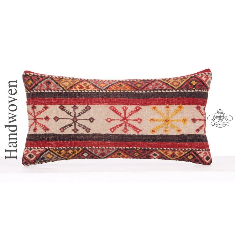 Vintage Embroidered Kilim Pillow 12x24 Black Lumbar Turkish Cushion Cover