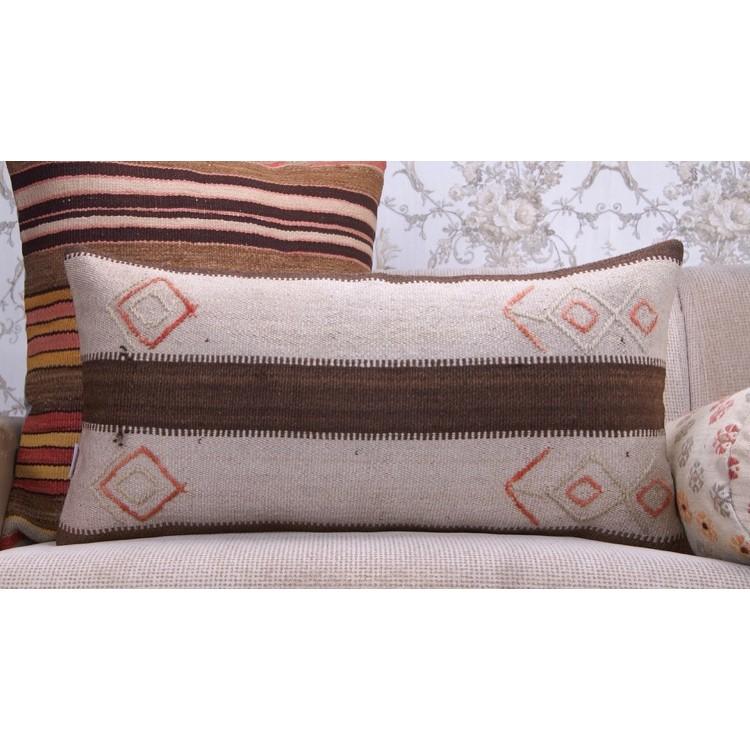 Contemporary Decorative Lumbar Rug Pillow Ethnic Striped Kilim Cushion