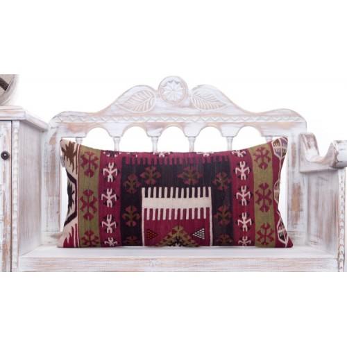 "Oriental Lumbar Turkish Kilim Pillow 14x28"" Geometric Anatolian Cushion"