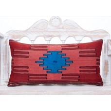 Nomad Art Lumbar Kilim Pillow 14x28 Red Handmade Turkish Rug Pillowcase