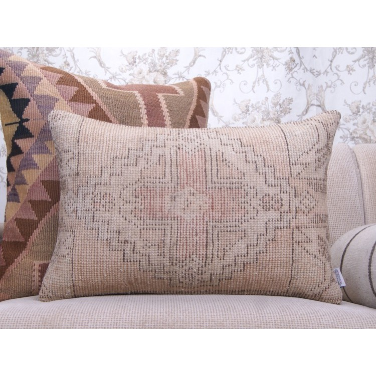 Faded Vintage Rug Throw Pillow 16x24 Cottage Decor Lumbar Pillowcase