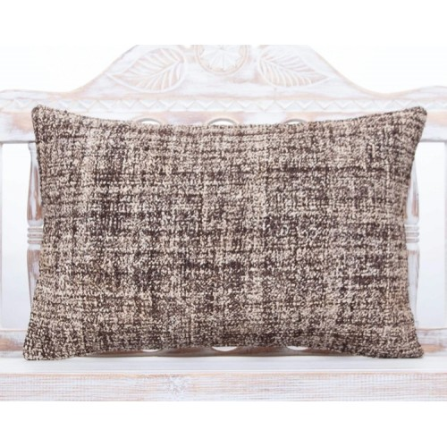 Handmade Gray Lumbar Kilim Pillow 16x24 Burlap Home Decor Throw Cushion