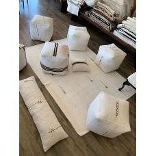 "Handmade Hemp Ottoman Pouf 17x17"" White Turkish Kilim Throw Pouffe"