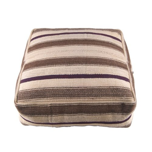 Striped Turkish Kilim Pouf Decorative Handmade Natural Cubic Rug Puff