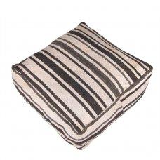 White Handmade Black Striped Kilim Pouf Decorative Floor Throw Pouffe