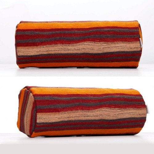 Striped Round Pillow Cylinder Handmade Sofa Throw Bolster Kilim Cushion