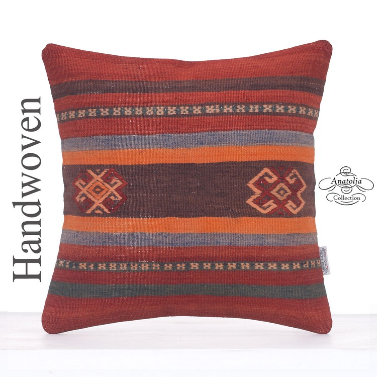 Vintage Turkish Kilim Pillow Striped Turkish Decor Accent Sofa Throw