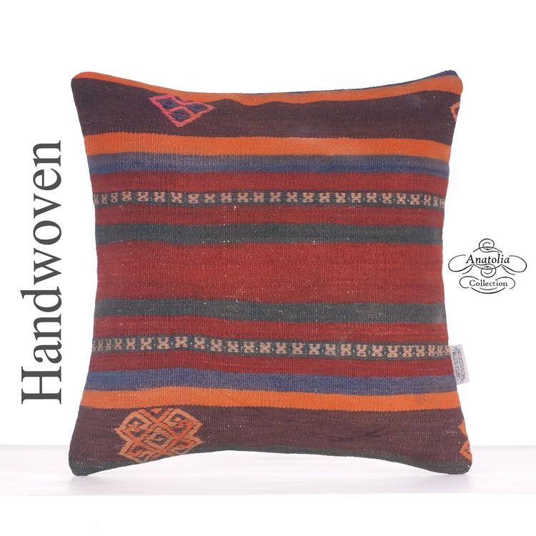 Ethnic Orange Striped Turkish Kilim Rug Pillow 16\