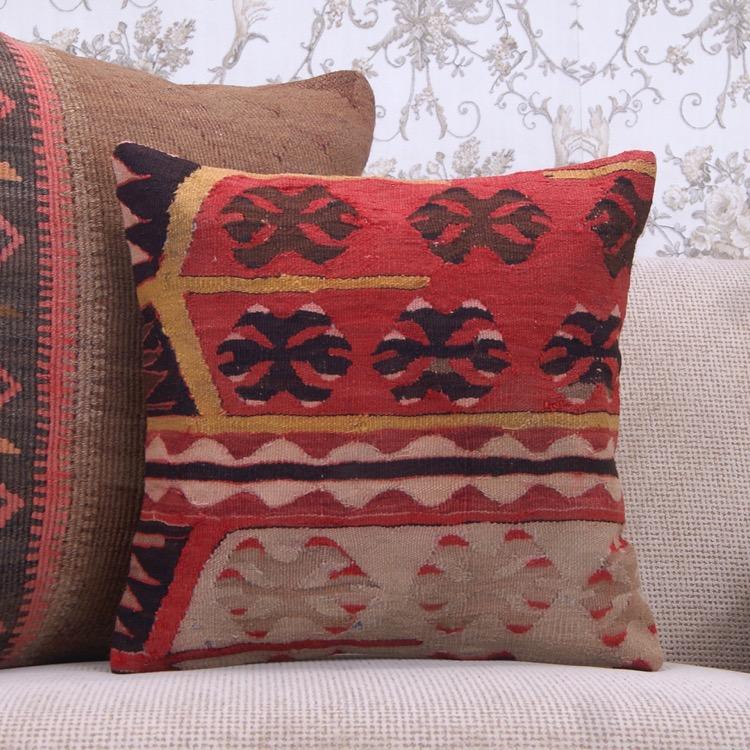 Antique Decorative Kilim Pillow Cover 16 Ethnic Anatolian Sofa Throw