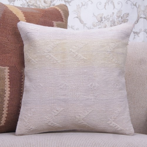 """Shabby Cottage Decoration Square Pillow 16"""" Embroidered Kilim Cushion"""