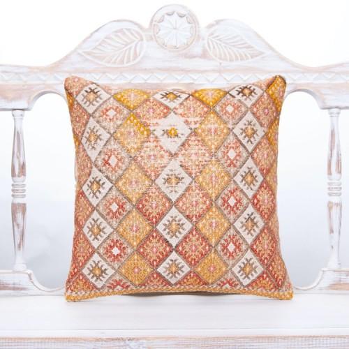 Anatolian Decorative Kilim Pillow 16x16 Antique Handmade Rug Pillowcase