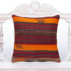 "Striped Handmade Kilim Pillow 16x16"" Rustic Interior Decor Sofa Throw"