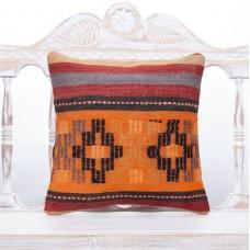Vintage Sofa Throw Rug Pillow 16x16 Handmade Decor Accent Kilim Cushion