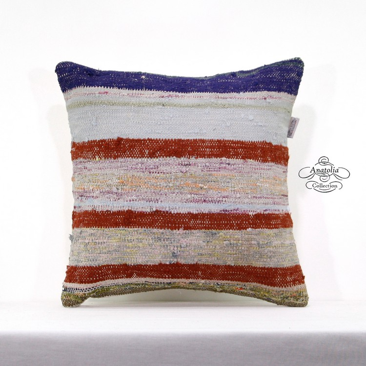 "Vintage Kilim Pillow Covers 18X18/"" Handwoven Kelim Ethnic Jute Throw Pillow Case"