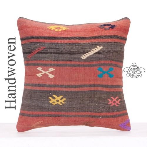 "Embroidered 18x18"" Kilim Rug Cushion Vintage Decorative Ethnic Pillow"