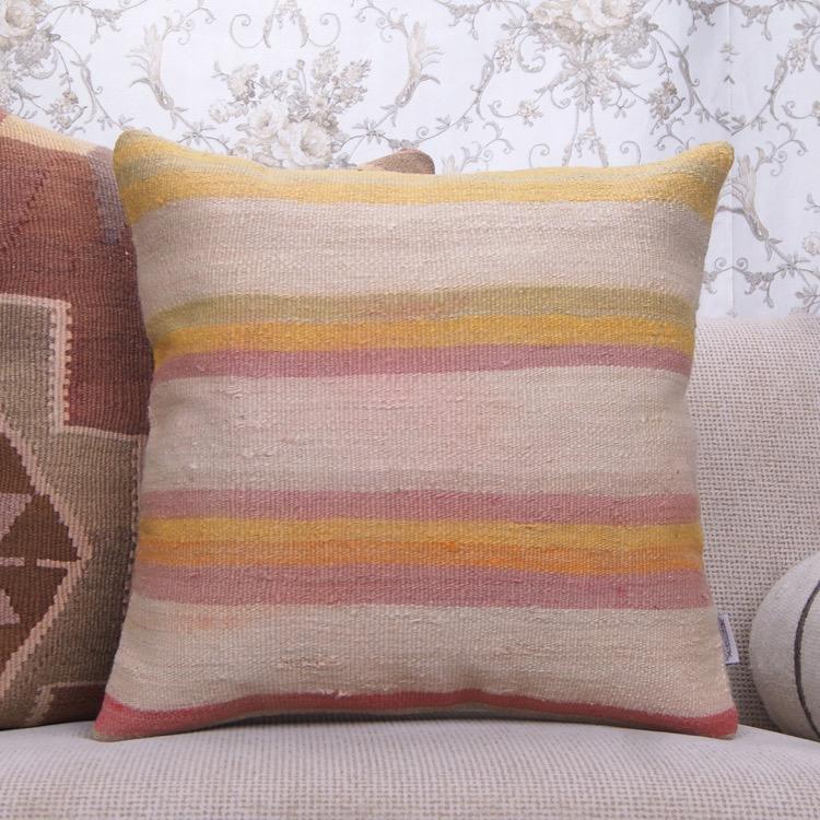 Striped Colorful Kilim Pillow 20 Vintage Turkish Rug Throw Pillowcase