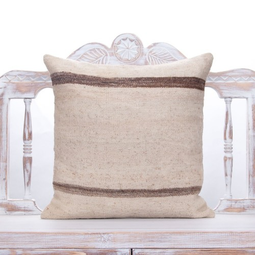 """Striped Vintage Kilim Throw Pillow 20x20"""" Anatolian White Rug Cushion"""