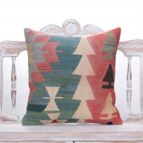 "Tribal Anatolian Kilim Throw Pillow 20x20"" Vintage Colorful Rug Cushion"