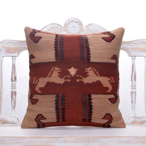 Oriental Vintage Turkish Kilim Pillow 20x20 Handmade Eastern Sofa Throw