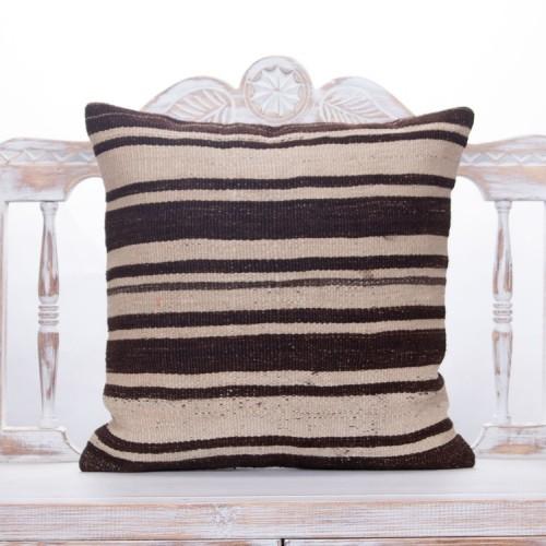 "Striped Handmade Kilim Pillow 20x20"" Natural Vintage Turkish Rug Throw"