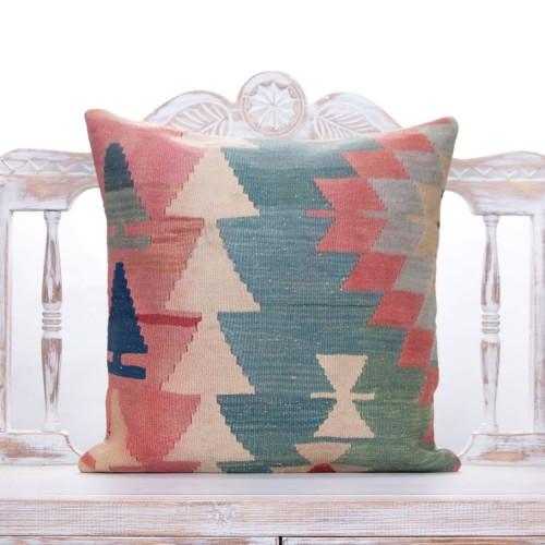 "Vintage Colorful Anatolian Kilim Cushion 20x20"" Oriental Turkish Pillow"
