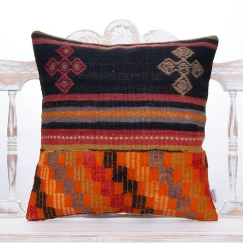 "Ethnic Decorative Rug Throw Pillow 20x20"" Vintage Turkish Kilim Cushion"