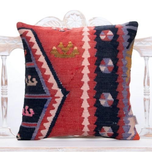 """Retro Home Decor Throw Pillow 20x20"""" Red Anatolian Kilim Rug Pillowcase"""